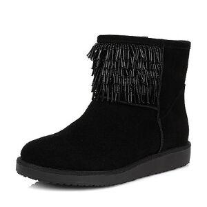 Teenmix/天美意专柜同款黑色剖层牛皮女短靴(绒里)AL50HDD5