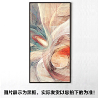 玄关走廊过道装饰画客厅竖版酒店挂画抽象背景墙壁画现代简约油画SN9816 90*180CM 黑色框