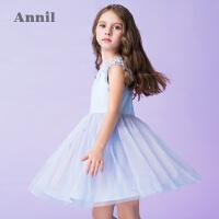 【2件35折:188.7】安奈儿童装女童双色拼接无袖连衣裙夏装新款