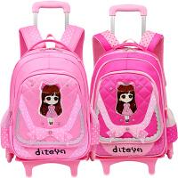 小学生拉杆书包女孩可拆卸儿童三轮拖拉包