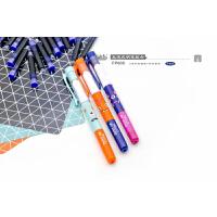 小白点文具 可擦换囊钢笔套装FP608 2支直液式彩色钢笔+16支蓝色墨囊/创意学生学习办公用品儿童练字写作业考试绿色