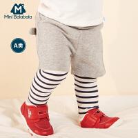 迷你巴拉巴拉男童运动裤2018春新款儿童裤子宝宝婴儿假两件打底裤