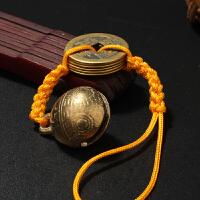 铜钱铜铃铛风水挂件乾隆通宝铜钱挂件钥匙扣吉祥物挂饰
