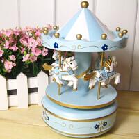 音乐盒旋转木马 音乐盒八音盒创意女生生日礼品天空之城欧式复古八音盒 蓝色小花 10*19cm