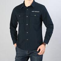 长袖衬衫男工装纯棉水洗休闲宽松大码透气衬衣青中年外穿上衣潮19002长袖衬衫