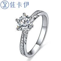 佐卡伊 注定的爱 白18K金六爪钻戒钻石结婚戒指女戒可裸钻定制