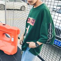 短袖T恤男�L��松潮流春季�A�I��性嘻哈�n版�W生七分袖上衣