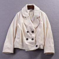 A@25 1.4斤春秋新时尚气质毛呢上衣韩版纯色双排扣休闲外套