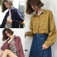 加肥加大码200斤胖MM春夏韩版学生口袋开叉格子长袖衬衫上衣女潮