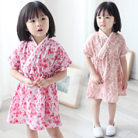 儿童睡衣女夏季短袖家居服纯棉碎花薄款宝宝中国风连衣裙女童汉服