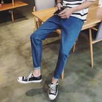 男士牛仔裤春装新款韩版纯色青少年修身小脚裤学生休闲长裤潮