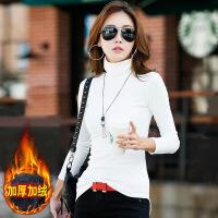 黑白色加绒加厚高领打底衫女长袖秋冬季2018新款修身大码内搭上衣