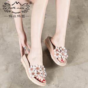 玛菲玛图外出拖鞋女夏时尚外穿新款真皮复古一字型个性花朵坡跟凉拖鞋815C-19