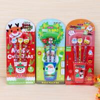 圣诞铅笔礼品文具套装 橡皮+铅笔学生用品新年物学习文具 包邮