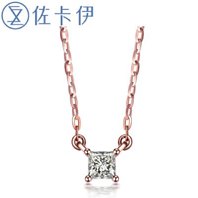 佐卡伊 玫瑰18K金钻石吊坠公主方项链时尚链牌珠宝首饰送恋人情人节礼物