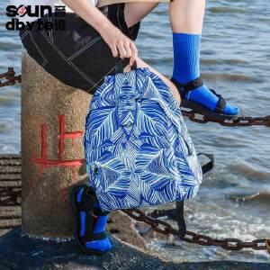 【支持礼品卡支付】soundbyte双肩包格子学院风书包蓝色矩形印花男女休闲学生背包
