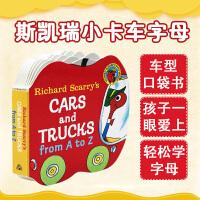 英文原版绘本读物 Richard Scarry's Cars and Trucks from A to Z 字母入门纸板书斯凯瑞作品 0-3岁宝宝单词学习词典