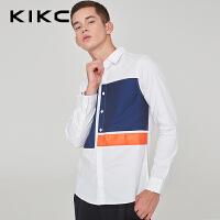 kikc长袖衬衫男2018秋季新款韩版休闲时尚纯棉拼色衬衣潮上衣男