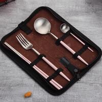 创意可爱304不锈钢筷子勺子叉子长柄汤匙 学生便携餐具盒套装