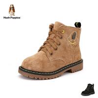 暇步士Hush Puppies童鞋18冬季新款儿童绒面耐磨靴子时尚加绒保暖马丁靴儿童防滑中筒靴 (5-10岁可选) D