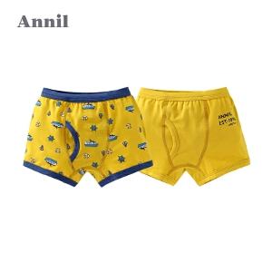 【1件8折后:63.36元】安奈儿童装男童平角底裤两件装2019新款