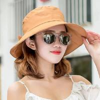 帽子女礼帽夏天卷边草帽太阳版女士遮阳帽蝴蝶结春季