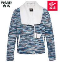 森马短外套 2017冬装新款 女士翻领时尚保暖加绒加厚短款外套潮