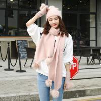 韩版冬季女学生帽子围巾手套一体软妹针织三件套可爱毛毛绒礼盒装