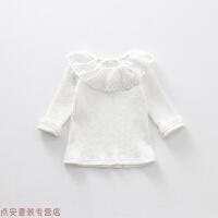 冬季女童秋装儿童长袖T恤婴儿打底衫百搭花边上衣1-3岁女秋冬新款 3码 建议身高70-75cm