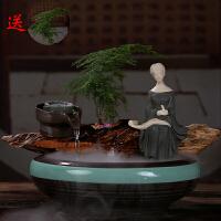 中式鱼缸盆景雾化器喷泉流水摆件礼品家居装饰品风水桌面摆设