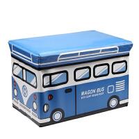儿童玩具收纳凳储物凳子可坐人衣服收纳箱盒多功能宝宝卡通整理箱 大号蓝白巴士