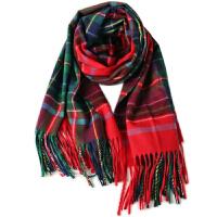 新款英伦格子双面披肩女春秋冬季保暖围巾两用长款加厚围脖