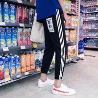 2018春夏新款运动裤男士韩版潮流三条杠休闲裤个性裤子宽松九分裤