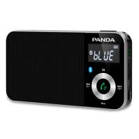 熊猫/PANDA 6210便携式蓝牙插卡充电小音箱FM迷你袖珍收音机 黑色