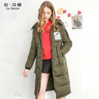 军绿色羽绒服中长款拉夏贝尔拉贝缇2017冬季新款韩版加厚外套潮女