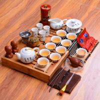 白瓷茶具套装陶瓷茶具整套 实木茶盘茶道