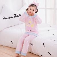 秋冬季儿童睡衣长袖法兰绒珊瑚绒女童小孩男童套装宝宝加厚家居服