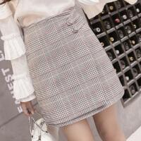 2018春夏季韩版百搭新款气质OL格子短裙高腰半身裙a字裙包臀裙