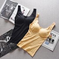 一体式带胸垫小吊带背心女长款抹胸式文胸内衣外穿内搭上衣打底衫 均码