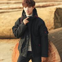 2018冬季新款韩版潮流连帽面包棉衣服工装学生短款男装帅气外套袄