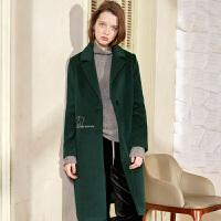 冬装新品 丝绒翻领顺毛呢羊毛大衣保暖外套女D742850D00