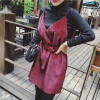 名媛小香风套装2018春季新款针织打底chic吊带裙修身女时尚两件套 红配黑 均码