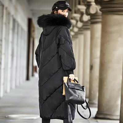 【一件三折 到手价:287.7】雅鹿过膝长款大毛领时尚保暖羽绒服女 连帽修身大码