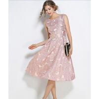 早春新款粉色花朵连衣裙 无袖背心A字中长款提花大摆礼服裙
