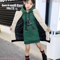 亲子女童2018新款4儿童加绒卫衣套装5岁6大童中长款7加厚马甲 墨绿色卫衣+马甲(套装) 正码