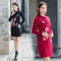 中国风春装新款冬加厚纯棉长袖修身连衣裙刺绣立领绣花盘扣打底裙