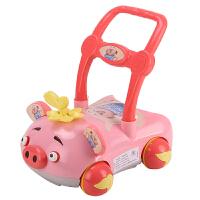 婴儿学步手推车可调速婴儿学步手推车玩具防侧翻宝宝助步车可调速调高低带音乐7-18个月 小猪粉带音乐灯光调速调高低 内置