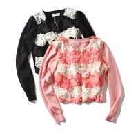 春装新女装 小清新拼色花朵装饰单排扣长袖外套女短
