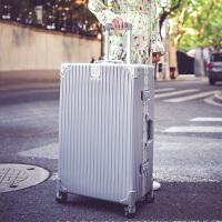 拉杆箱万向轮24寸铝镁合金金属框皮箱旅行箱女行李箱26寸包硬箱复古登机箱20超轻防摔手拉箱 银色 防刮铝框箱豪华款