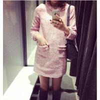 2018冬季新款名媛女小香风长袖直筒加厚裙子秋冬粗毛呢打底连衣裙 粉红色